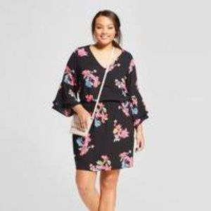 A New Day Black Floral Dress XXL bell sleeves